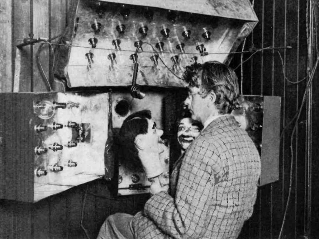 John Logie Baird with his first television system and high contrast dummies (the first TV stars)